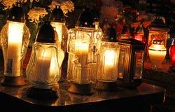 Candle flames illuminating Royalty Free Stock Image