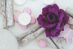 Candle flower decoration objects Royalty Free Stock Photography