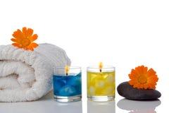 candle flower spa πετσέτα Στοκ φωτογραφία με δικαίωμα ελεύθερης χρήσης