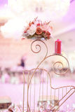 Candle and flower stand on wedding table Stock Image