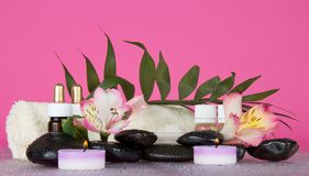 Candle, flower, stones, before a howea leaf Royalty Free Stock Photography