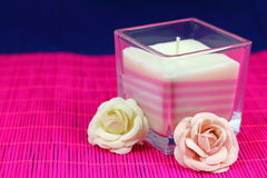 Candle and flowers Royalty Free Stock Photo