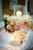 Candle with Flowers on Bridal Table Wedding Theme Stock Image