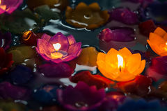 Candle flowers colorful,Beatiful in loy krathong day Royalty Free Stock Photography