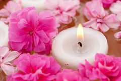 Candle with flowers Royalty Free Stock Photo