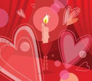 Candle and flying hearts Stock Images