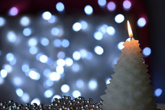Candle in the form of a fir tree Stock Image