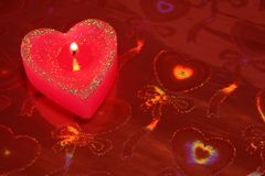 Candle in the form of heart Royalty Free Stock Photos