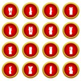 Candle forms icon red circle set. Isolated on white background Royalty Free Stock Images