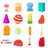 Candle forms icons set, cartoon style Stock Photo