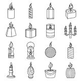 Candle forms icons set flame light, outline style. Candle forms icons set flame light. Outline illustration of 16 candle forms flame light vector icons for web stock illustration