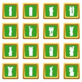 Candle forms icons set green Royalty Free Stock Photo