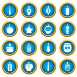 Candle forms icons set light, simple style. Candle forms icons set light. Simple illustration of 16 candle forms flame light vector icons for web stock illustration