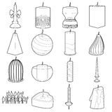 Candle forms icons set, outline style Royalty Free Stock Image