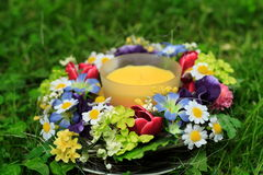 Candle in the garden Royalty Free Stock Photography