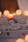 Candle and garland Royalty Free Stock Photography