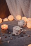 Candle and garland Stock Photo