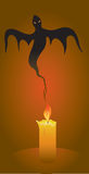 Candle and ghost. Halloween background, candle and ghost, illustration Stock Photos