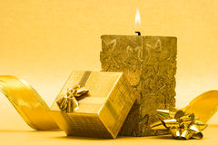 Candle and gift box Royalty Free Stock Photo