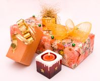 Candle and gifts Royalty Free Stock Photo
