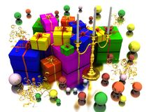 Candle and gifts Royalty Free Stock Photos