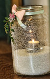 Candle in a glass. Burning Candle in a Glass Stock Photography