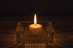 Candle in glass jar Royalty Free Stock Image