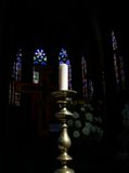 Candle in Gothic Church. Detail interior view of the Kapellekerk (gothic old church) in Brussels downtown: a candle in front of the altar stock images