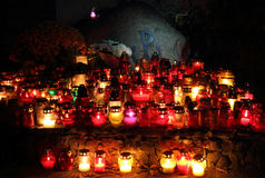 Candle on the grave of Warsaw Uprising soldiers. Powazki cemetery Stock Photo