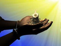 Candle in hand Royalty Free Stock Photography