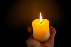 Candle in the hand Royalty Free Stock Images