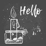 Candle. Hand drawing illustration Stock Photos