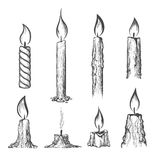 Candle hand drawn set Stock Image
