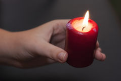 Candle in hand Royalty Free Stock Photo