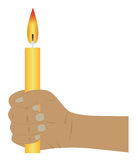 Candle in a hand. Vector illustration. Stock Photos