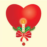 Candle in heart. Candles decorated in a festive Christmas decoration Royalty Free Stock Photo