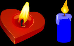 Candle, Heart, Valentine, Red Stock Photo