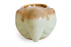 Candle Holder. A ceramic elephant candle holder shot on white background Stock Images