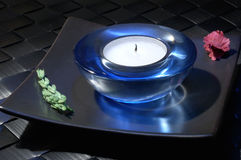 Candle holder. Blue candle holder Royalty Free Stock Image