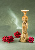 Candle holder bronze sculpture for interior decoration, art object. Female Stock Photo