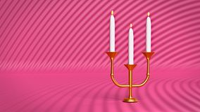 Candle holder with burning candles 3d rendering. Shining golden candle holder with white burning candles 3d rendering Royalty Free Stock Image