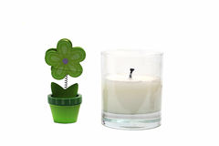 Candle holder with candle and stand Stock Photo