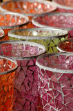 Candle holder cups. Mosaic glassware candle holders royalty free stock photo