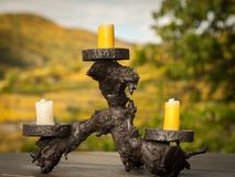 A candle holder made of wine wood Stock Image