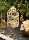 Candle holder under the christmas tree Royalty Free Stock Photos