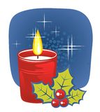 Candle and holly berry. Stylized christmas candle and holly berries on a dark blue background Stock Images