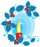 Candle and holly berry. Stylized christmas candle and holly berry on a  blue background Royalty Free Stock Photography