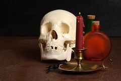 Candle with human skull Stock Photo
