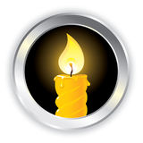 Candle icon. Icon with a burning wax candle. Vector image Royalty Free Stock Images