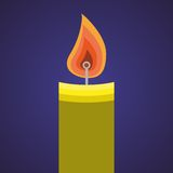 Candle icon. Icon of candle on the blue gradient background Royalty Free Stock Image